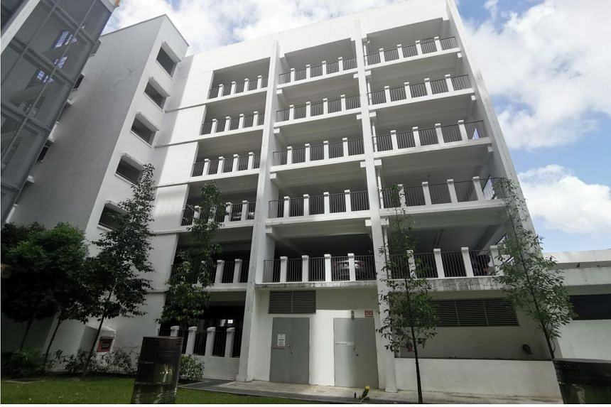 The carpark at Blk 526B Pasir Ris Street 51 where a girl is believed to have fallen to her death on Jan 8.