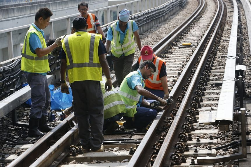Train circuit replacement works being carried out on MRT tracks.