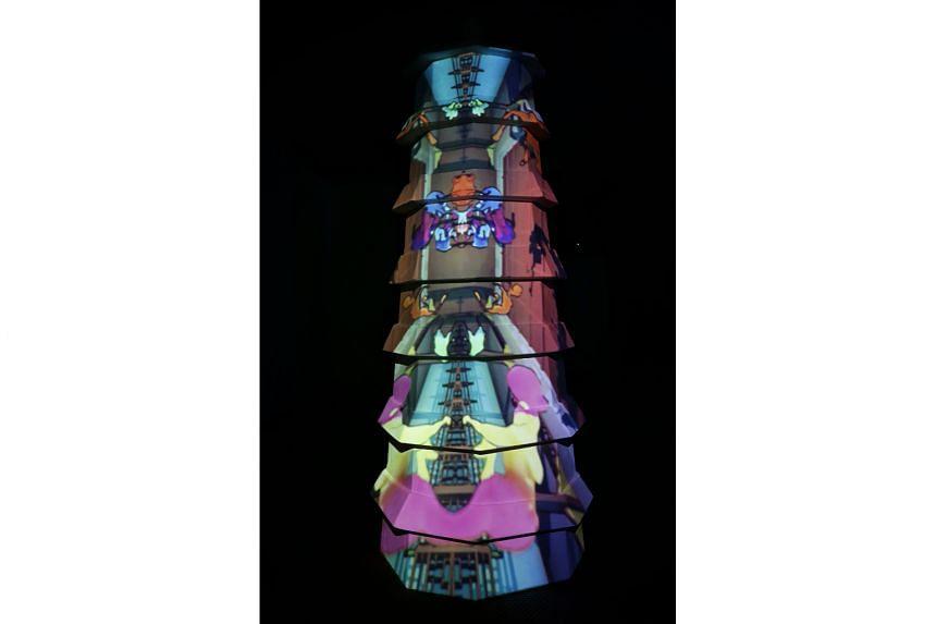 American artist Race Krehel's projection mapping for a pagoda installation designed by Japanese artist Taketo Kobayashi.