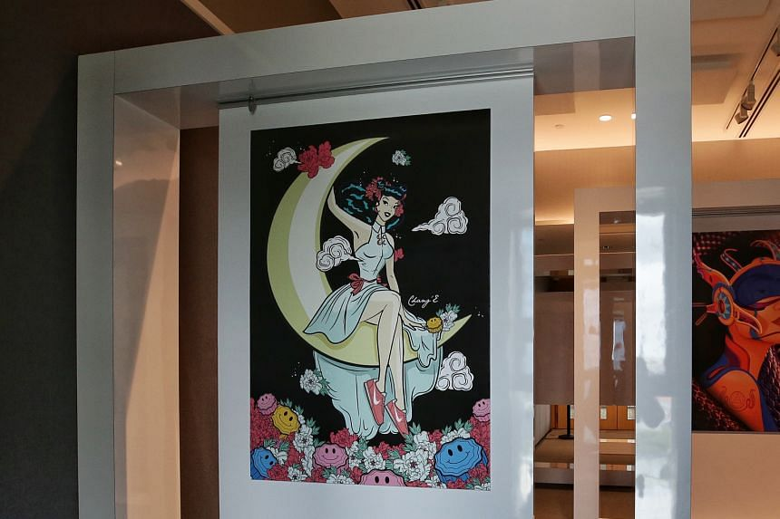 The Remix festival's urban art exhibition features modern portrayals of Chinese mythology, including Muneera Malek's contemporary re-imagining of the moon goddess Chang'e (above).