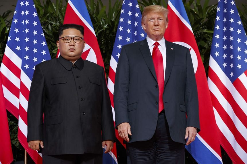 In this photo taken on June 12, 2019, US President Donald Trump (right) meets with North Korean leader Kim Jong Un in Singapore.