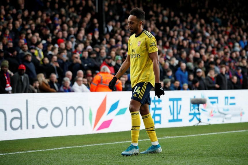 Arsenal's Pierre-Emerick Aubameyang leaves the pitch after being shown a red card during the match between Crystal Palace and Arsenal on Jan 11, 2020.