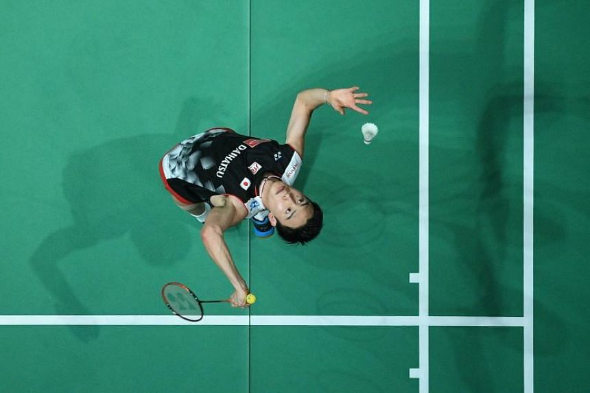Kento Momota (above) took 43 minutes to seal the win over Lee Zii Jia.