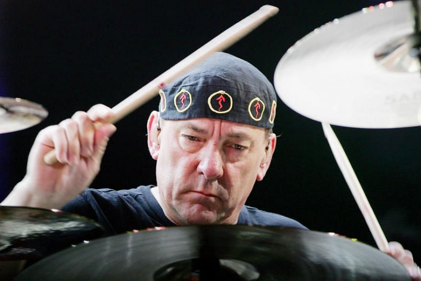 In this photo taken on May 10, 2008, Rush drummer Neil Peart performs in Las Vegas, Nevada.