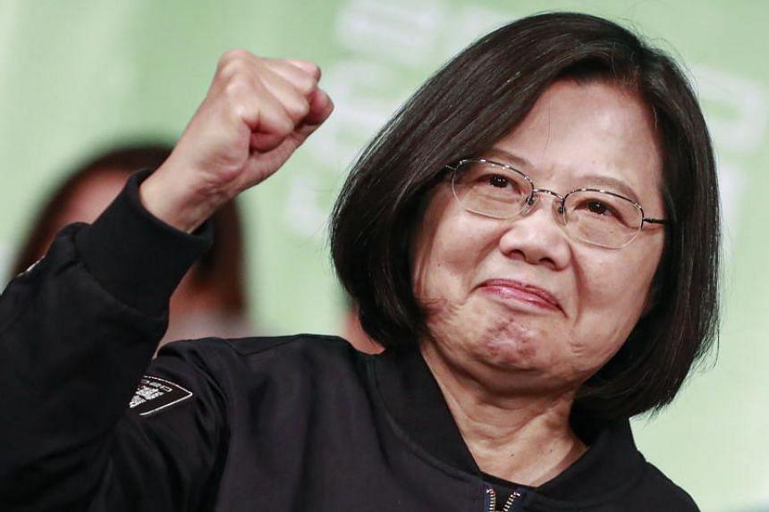 Taiwan President Tsai Ing-wen celebrates winning the presidential elections in Taipei on Jan 11, 2020.