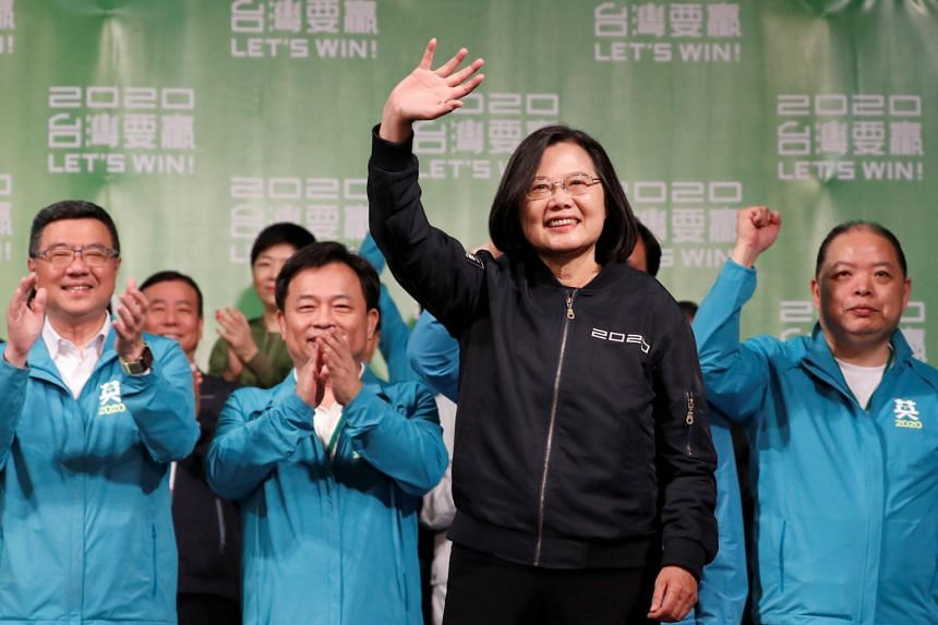 Taiwan's President Tsai Ing-wen waves to supporters outside her campaign headquarters in Taipei on Jan 11, 2020.