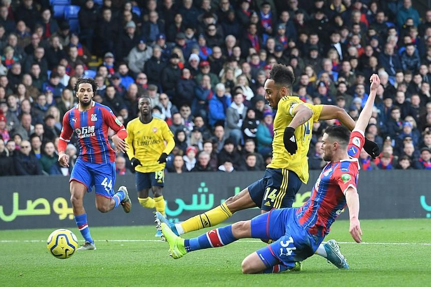 Arsenal captain Pierre-Emerick Aubameyang scoring the opening goal against Crystal Palace at Selhurst Park on Saturday. The match ended 1-1.