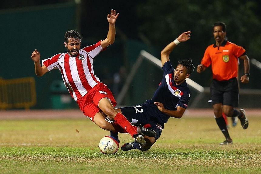Tanjong Pagar United (in red, playing against Hougang United) last competed in the S-League (later renamed the Singapore Premier League) in 2014. The Jaguars sat out the following year because of financial woes.