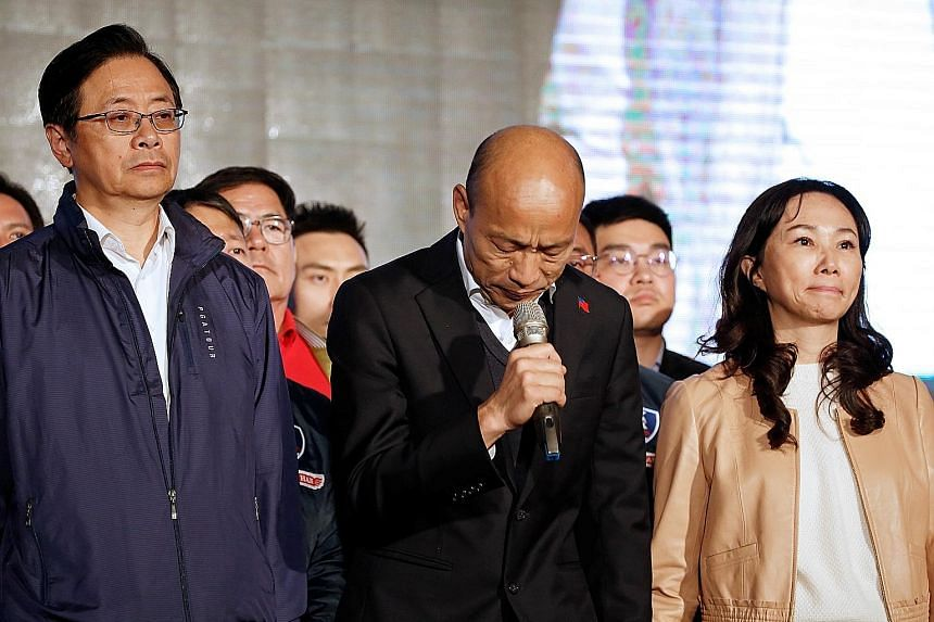Kuomintang presidential candidate Han Kuo-yu conceding defeat in the presidential election in Kaohsiung yesterday. Mr Han won 5.52 million votes, or about 39 per cent.