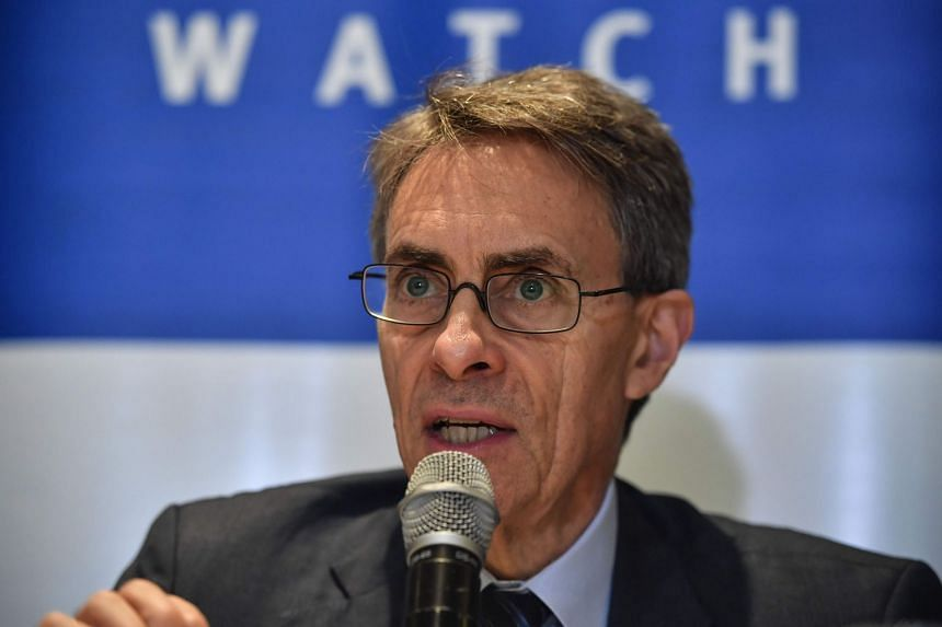 An October 2019 photo shows Kenneth Roth speaking at a press conference in Sao Paulo, Brazil.