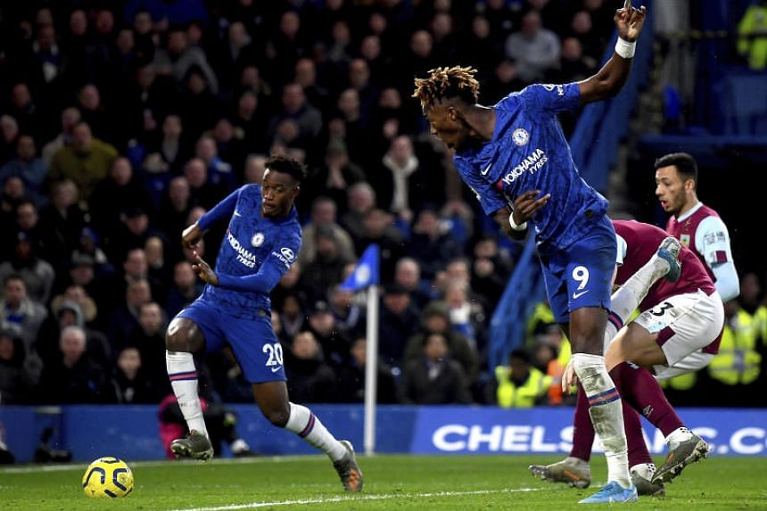 Chelsea's Callum Hudson-Odoi (left) on his way to score his team's third goal during the English Premier League match against Burnley in London, on Jan 11, 2020.