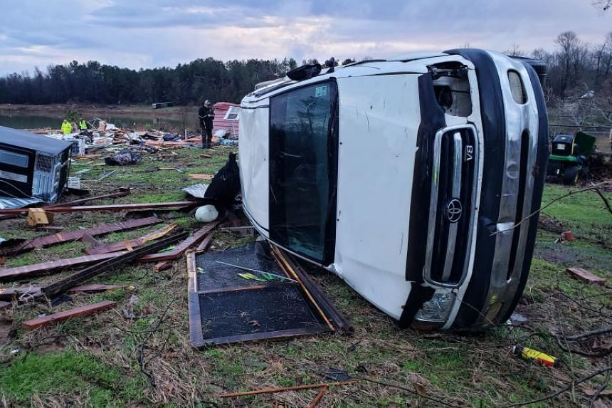 A photo provided by Bossier Parish Sheriff's Office shows damage from severe weather in Louisiana, on Jan 11, 2020.