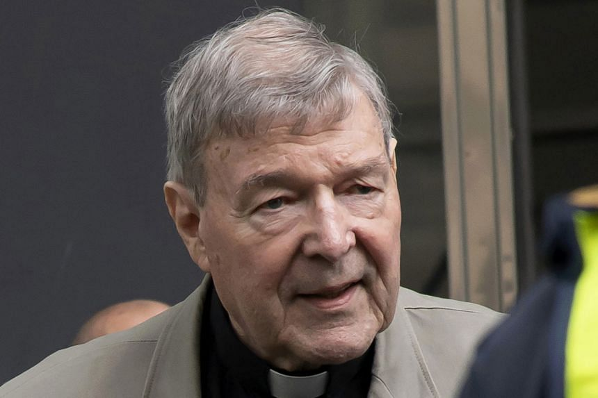 In photo taken on Feb 26, 2019, Cardinal George Pell arrives at the County Court in Melbourne, Australia.