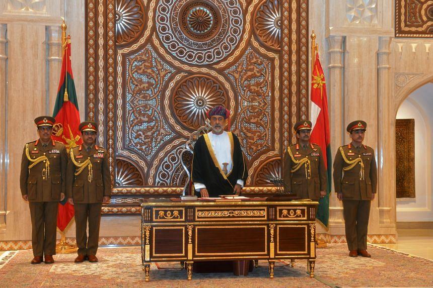 Sultan Haitham bin Tariq al-Said is sworn in before the royal family council in Muscat, Oman, on Jan 11, 2020.