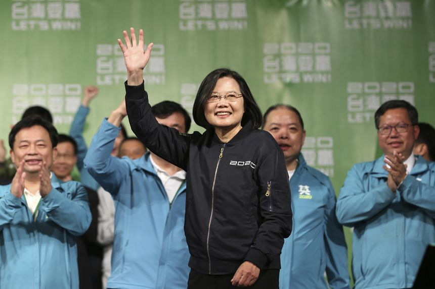 Taiwanese President Tsai Ing-wen celebrates her victory with supporters in Taipei on Jan 11, 2020.
