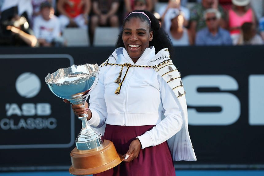 Serena Williams poses with her trophy after winning the women's singles final match during the Auckland Classic tennis tournament on Jan 12, 2020.