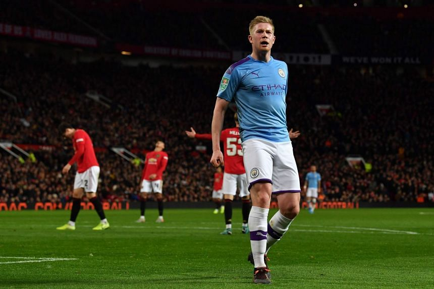 Manchester City's Belgian midfielder Kevin De Bruyne celebrates scoring his team's third goal in England on Jan 7, 2020.