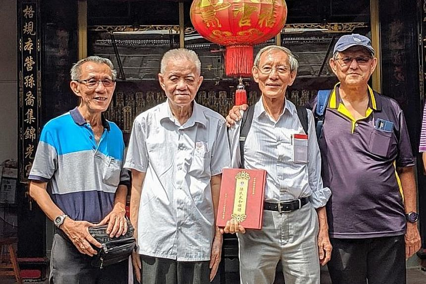 (From left) Brothers Tan Sin Min, Tan Thiam Peng, Tan Thiam Soon and Tan Sin Kian. Their mother, Madam Lin Cheow Tee, was devastated after her mother-in-law gave her baby, named Tan Xin Zheng and born in 1950, away for adoption without her consent. T