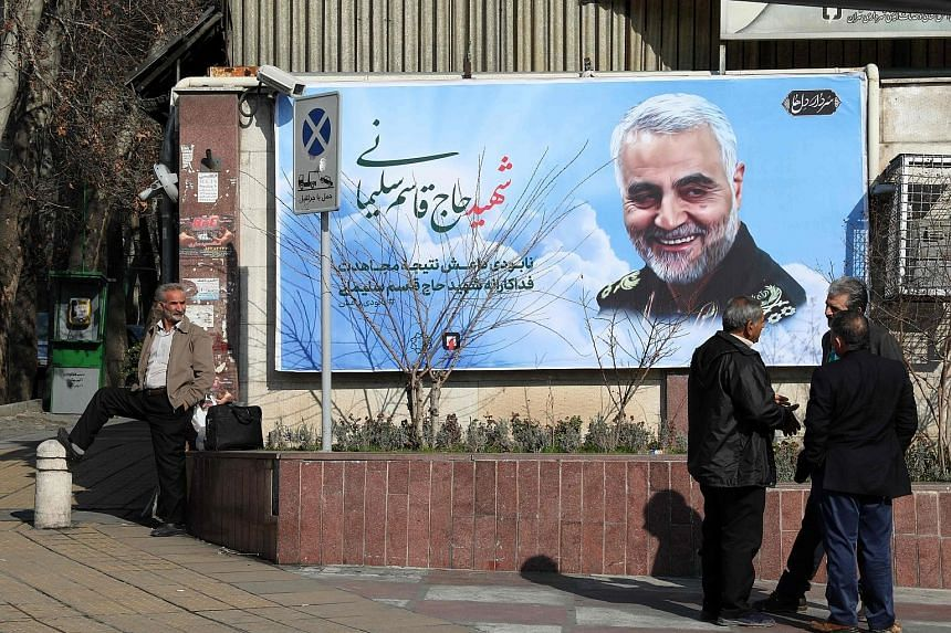 A poster of slain Quds Force commander Qassem Soleimani off a main square in the Iranian capital Teheran. There was little dissent about killing the general among US President Trump's senior advisers, but some Pentagon officials were shocked that the
