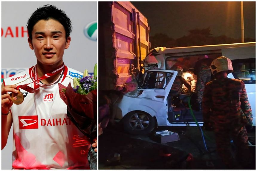 Badminton world No. 1 Kento Momota  was with three other players en route to Kuala Lumpur International Airport when the hired van they were in rammed into the rear of a 30-tonne truck.