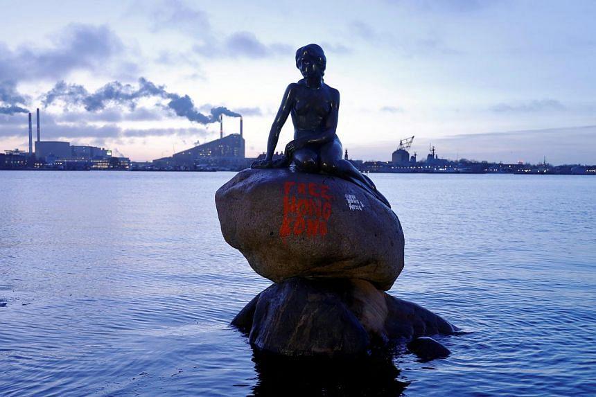 Copenhagen's Little Mermaid statue is seen after it was doused in graffiti on Jan 13, 2020.