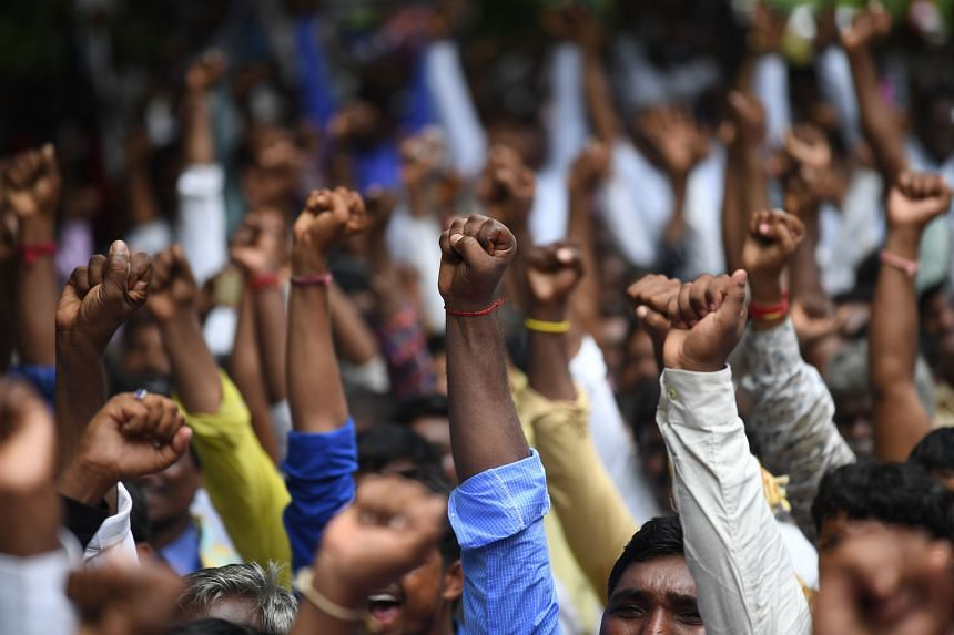 In a photo from Aug 9, 2018, India's most marginalised Dalit community members shout slogans during a protest in New Delhi.