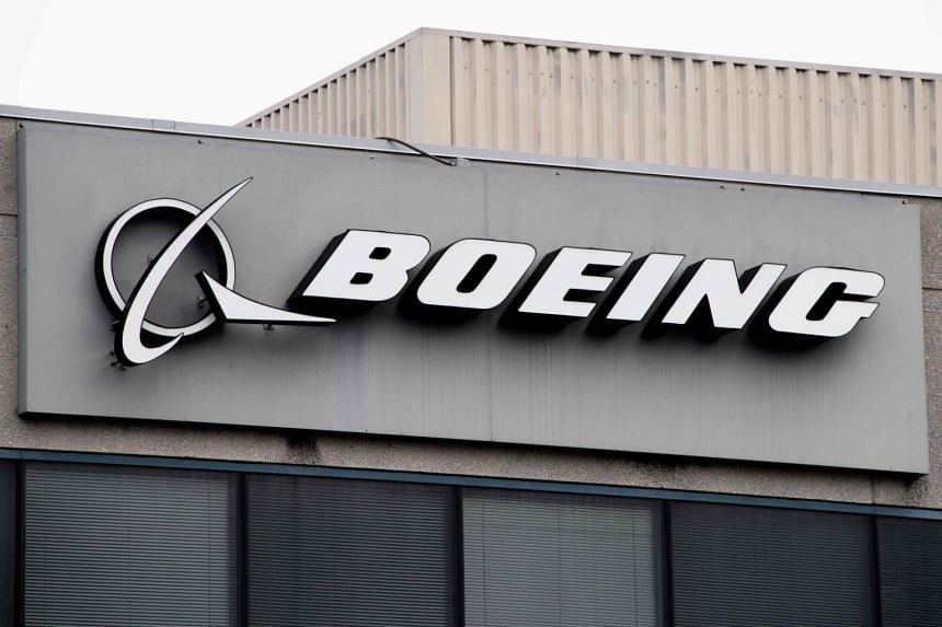 The Boeing company logo seen on a building in Annapolis Junction, Maryland, US, on March 11, 2019.