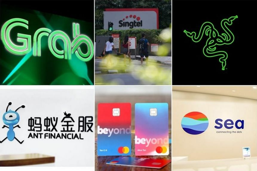 (Clockwise from top left) Grab, Singtel, Razer, Sea, Beyond and Ant Financial.