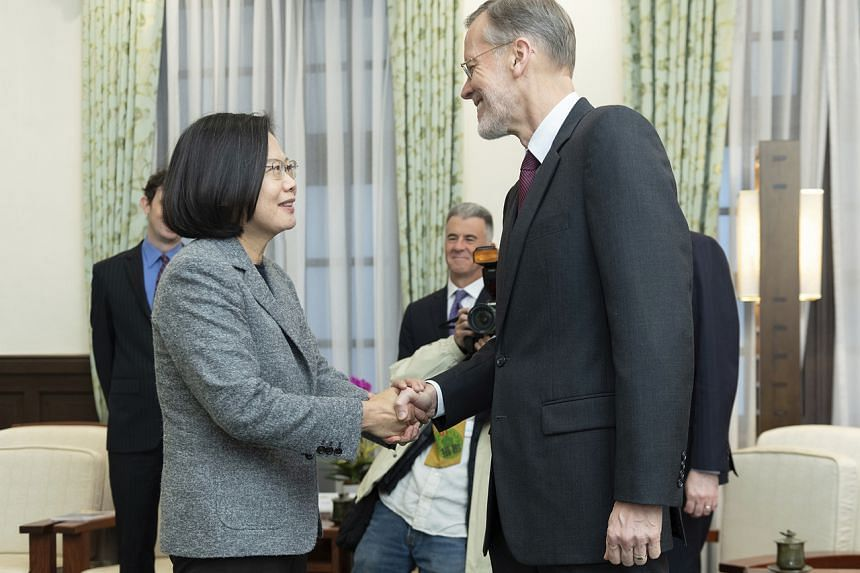 William Brent Christensen (right) meets with Taiwan President Tsai Ing-wen, in the Presidential Office in Taiwan on Jan 12, 2020.