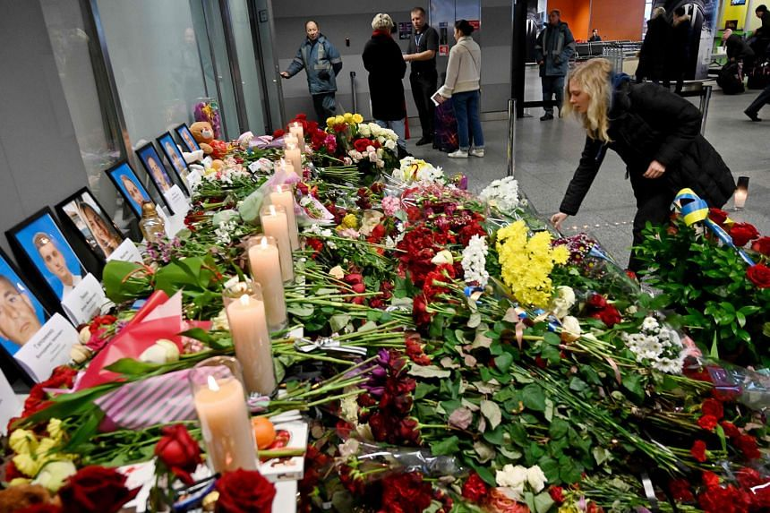 A makeshift memorial at the Boryspil airport outside Kiev, for the victims of the Ukraine International Airlines plane that crashed.