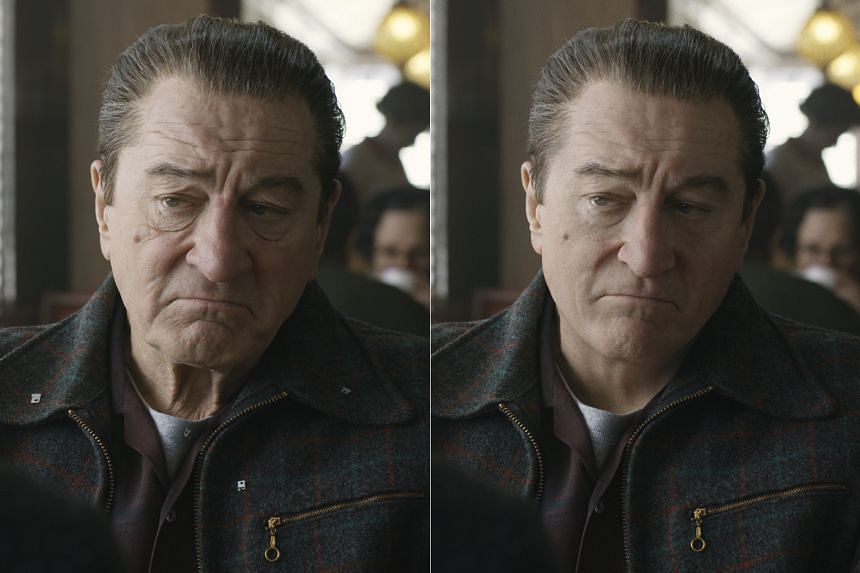 "Actor Robert De Niro's original (left) and de-aged faces. The effect was achieved with the use of a unique ""three-headed"" camera rig."