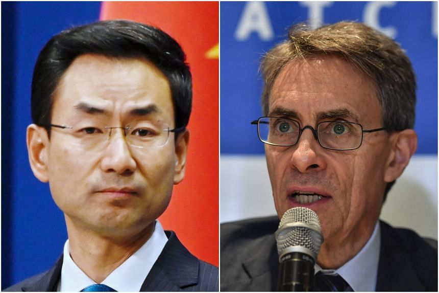 China's foreign ministry spokesman Geng Shuang (left) said allowing or not allowing someone's entry is China's sovereign right, a day after Human Rights Watch chief Kenneth Roth said he was denied entry into Hong Kong.