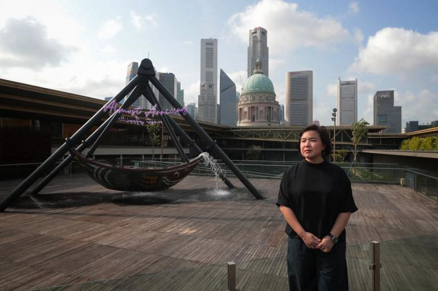 Fu Cha is a new work by Beijing-based artist Cao Fei, which alludes to Singapore's history as a port city and is painted with protective motifs.