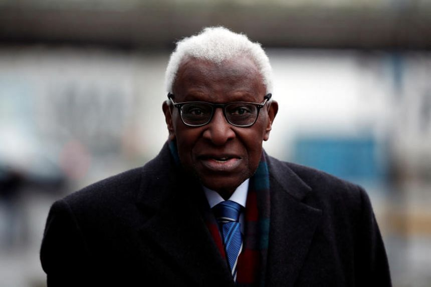 Former President of International Association of Athletics Federations (IAAF) Lamine Diack arrives for his trial at the Paris courthouse on Jan 13, 2020.
