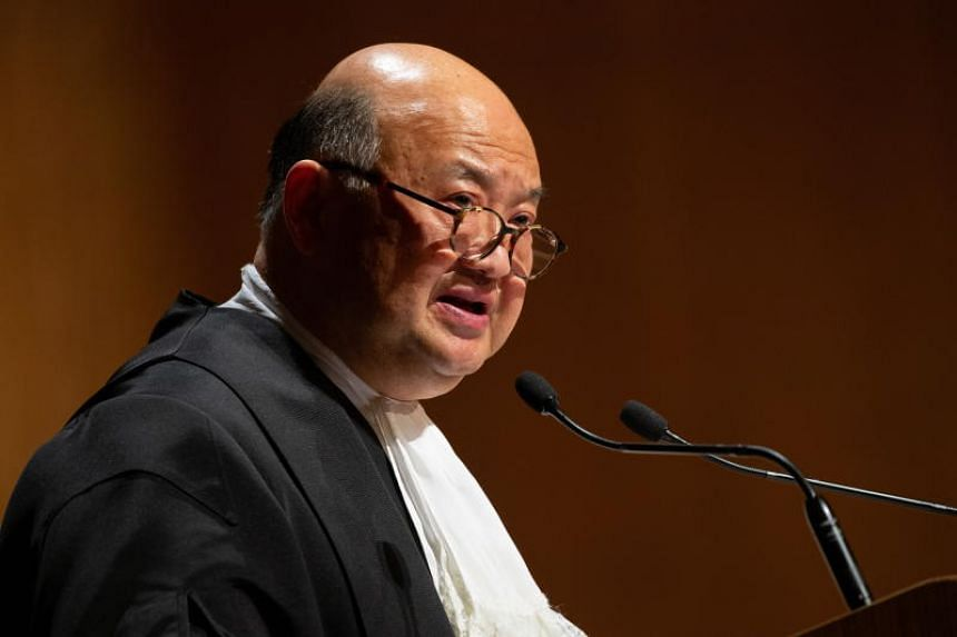Chief Justice of the Hong Kong Court of Final Appeal, Geoffrey Ma Tao-li, speaks during the Ceremonial Opening of the Legal Year 2020 in Hong Kong on Jan 13, 2020.