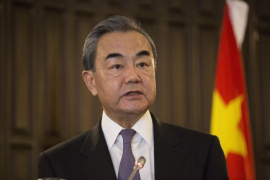 Chinese Foreign Minister Wang Yi at a press conference in Harare, Zimbabwe, on Sunday. Mr Wang, who is on a five-nation tour in Africa, had harsh words for Taiwan which re-elected Ms Tsai Ing-wen on Saturday. PHOTO: EPA-EFE