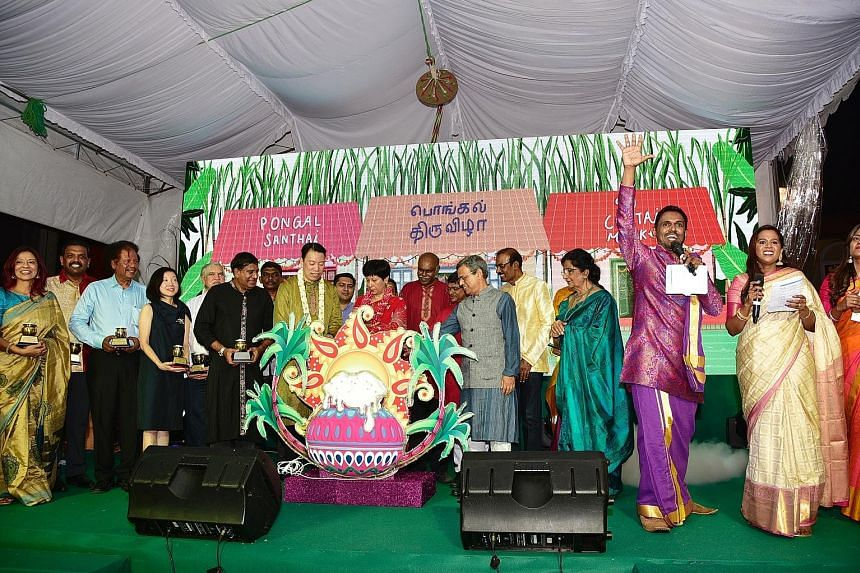A light-up event for the Pongal festival last Friday, where the guest of honour was Minister in the Prime Minister's Office Indranee Rajah (wearing red). ST PHOTO: DESMOND WEE Tamils who celebrate Pongal shop for items such as sugar cane, vegetables