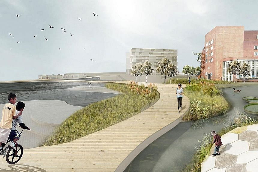 An artist's impression from a concept submitted by Singapore University of Technology and Design graduate students. Their main idea centres on incorporating water into the site through the collection of rainwater and the channelling of nearby seawate