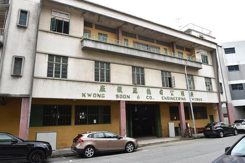 (From top) Dawn Ng's mirrored work, Merry Go Round; Nicholas Ong's Absurd Theatrics series; and the facade of the Kwong Soon & Co Engineering Works building in Cavan Road. Artist Dawn Ng (seated) and Audrey Yeo, founder of the Singapore Arts Club, wi