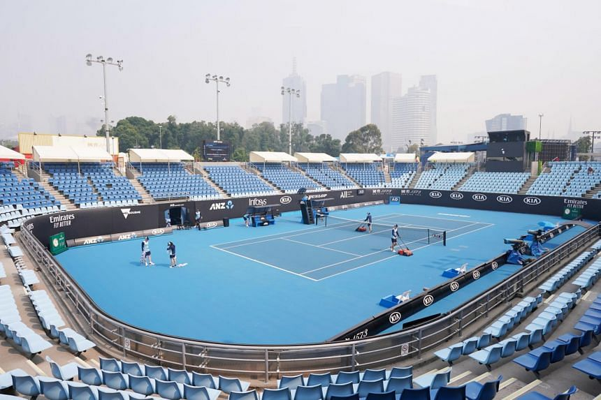 An Australian Open practice session at Melbourne Park in Melbourne during a hazy day, on Jan 14, 2020.