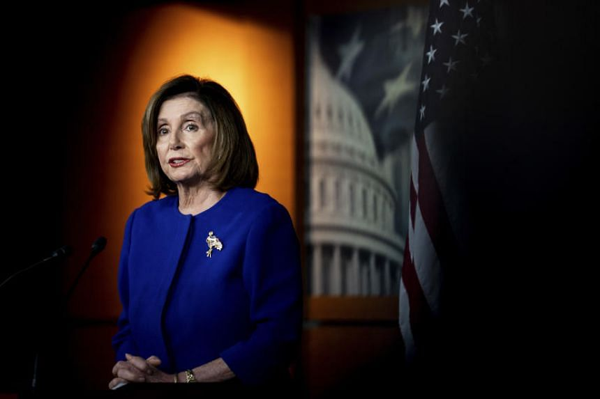 US House Speaker Nancy Pelosi speaks at a news conference on Capitol Hill in Washington, DC, on Jan 9, 2020.