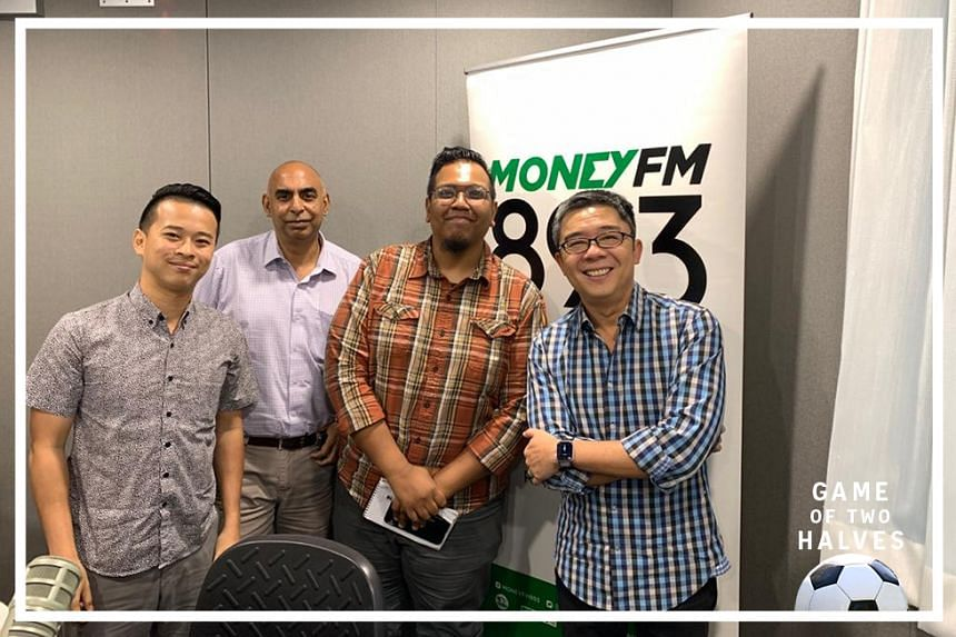 Money FM's Bernard Lim (far right) hosts ST assistant sports editor Rohit Brijnath (second from left), sports correspondent Sazali Abdul Aziz (third from left) and sports correspondent David Lee (far left) on this episode of #GameOfTwoHalves.