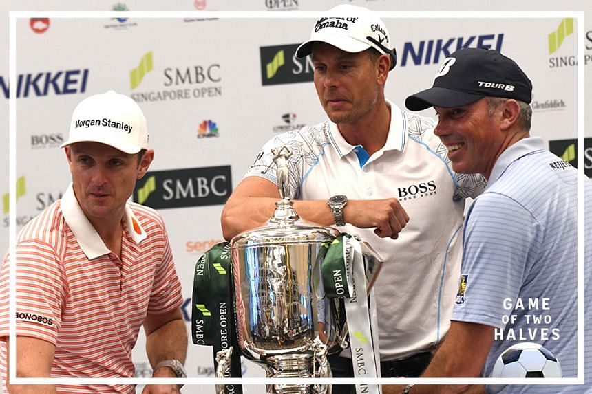 Justin Rose of England (L), Henrik Stenson of the United States (C) and Matt Kuchar pose with the trophy after a press conference ahead of the SMBC Singapore Open tournament in Singapore on January 14, 2020.