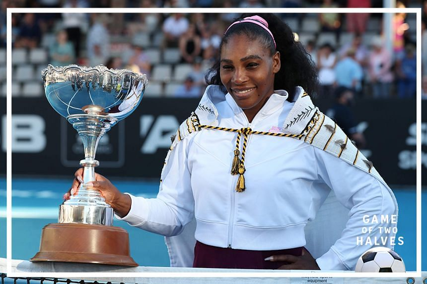 Serena Williams of the US poses with her trophy after winning against Jessica Pegula of the US during their women's singles final match during the Auckland Classic tennis tournament in Auckland on January 12, 2020.