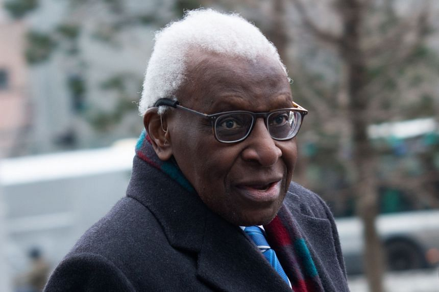 Ex-IAAF chief Lamine Diack arrives at the Paris courthouse for his trial over the Russia doping scandal on Jan 13, 2020.
