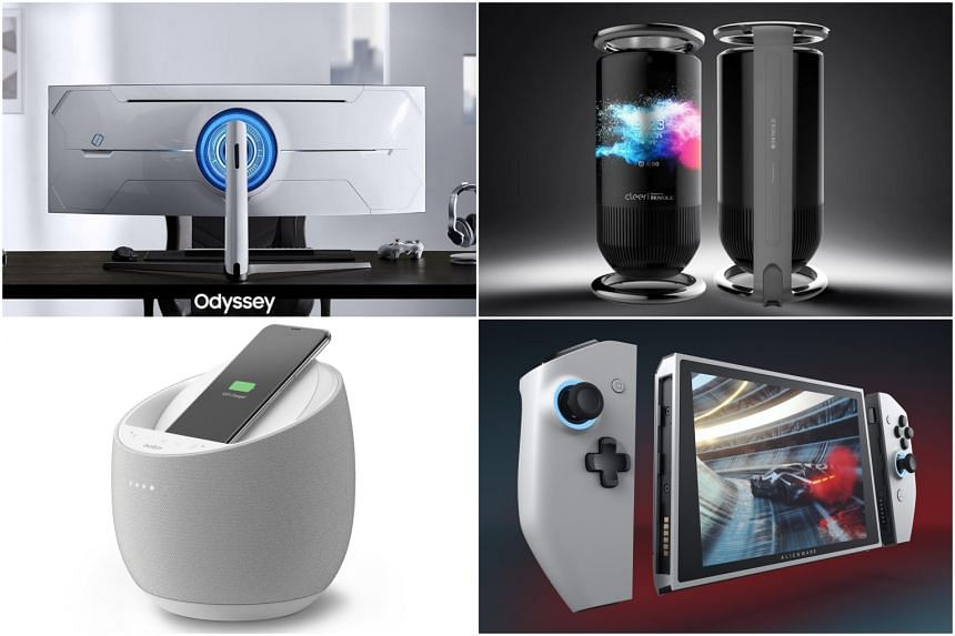Some gadgets to look out for include (clockwise from top left) the Samsung Odyssey G9, the Royale Mirage Smart Speaker, the Alienware Concept UFO and the Belkin Soundform Elite.