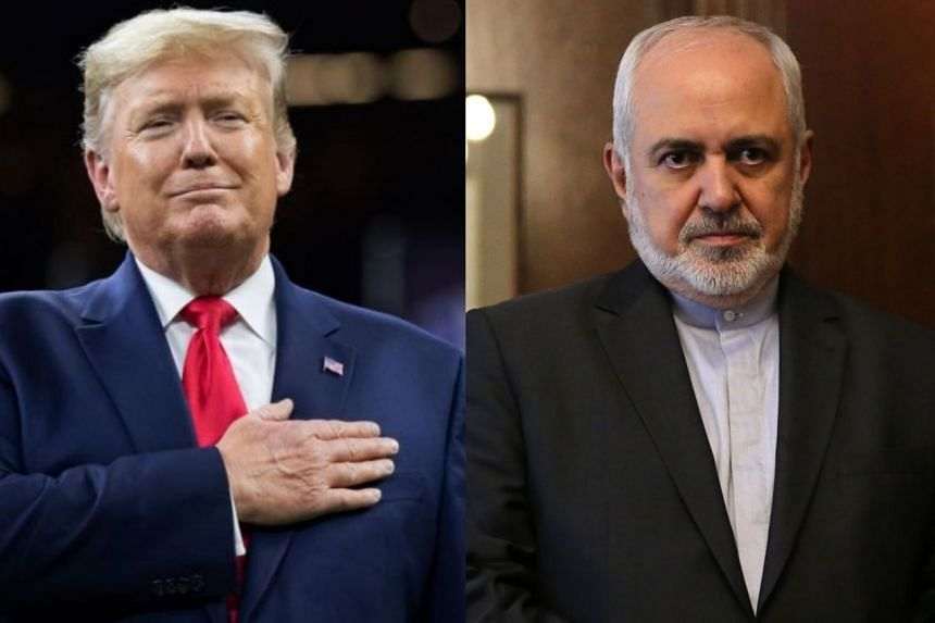 Trump (left) did not attend the event in 2019. Zarif (right) had been scheduled to attend in 2020 but is no longer on the list.