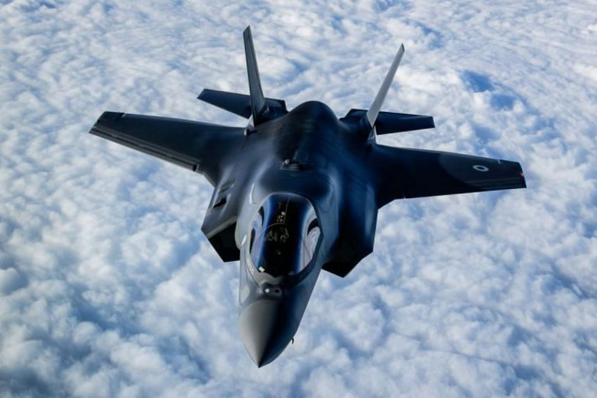 """A photo taken on Nov 27, 2018, shows an RAF F-35B Lightning fighter jets flying over The English Channel during the """"Point Blank"""" excercise after taking off from RAF Mildenhall, Britain."""