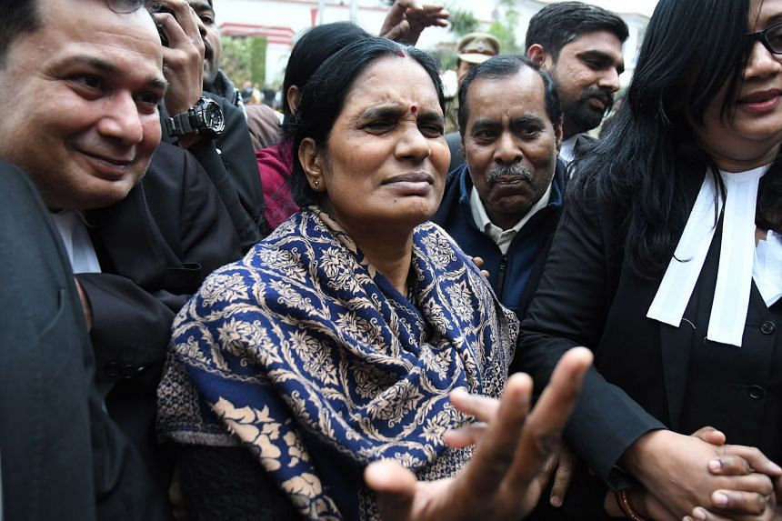 The mother of a young woman who was raped and murdered in a New Delhi bus in 2012 is seen at the city's Patiala House Court on Jan 7, 2020.