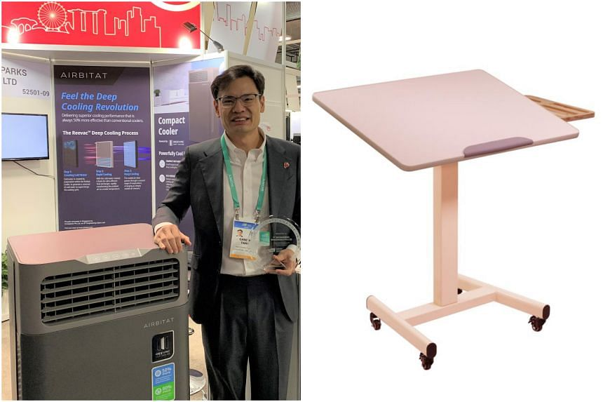 Innosparks head Gareth Tang and the Airbitat Compact Cooler at CES 2020, alongside Fitterlab's Fitterdesk.
